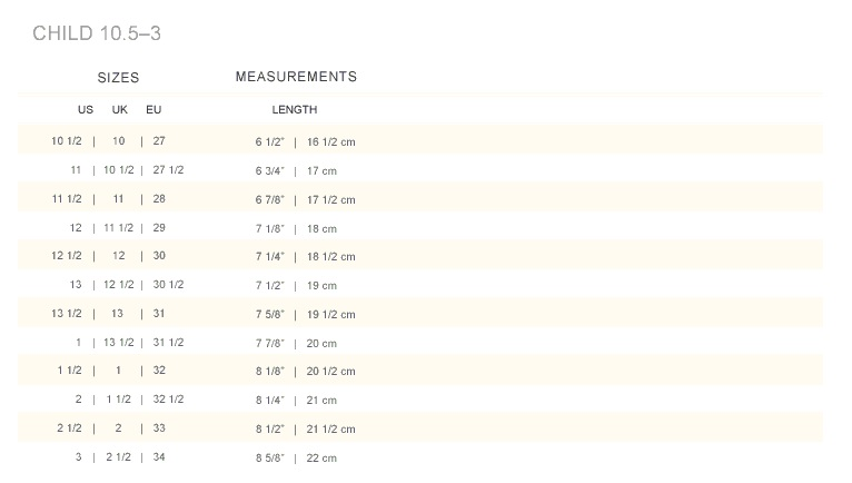 Lil' Tinks: Ralph Lauren - Size Charts