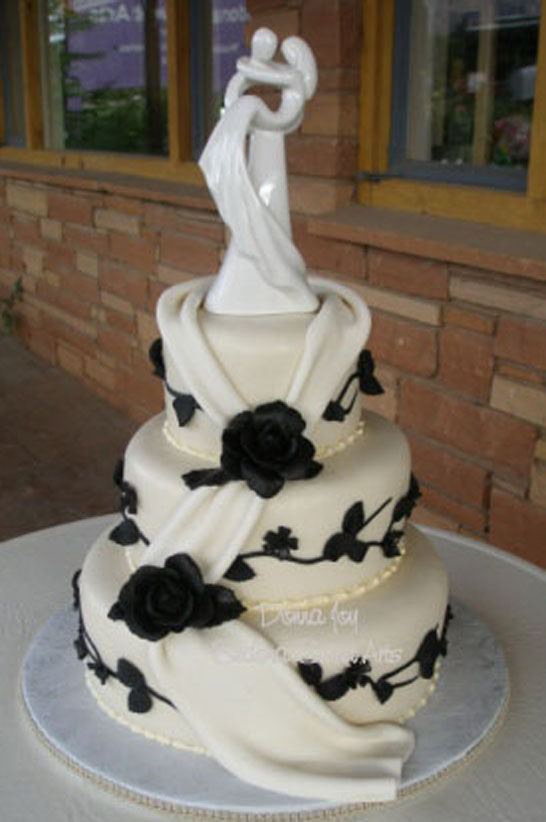 black rose wedding cake decorations