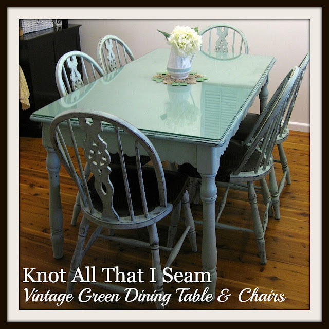 Restyle Relove Farmhouse Style Vintage Green Dining Table & Chairs