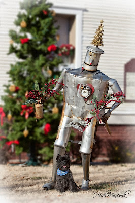 Cairn Terrier Holiday Photo with the Tin Man