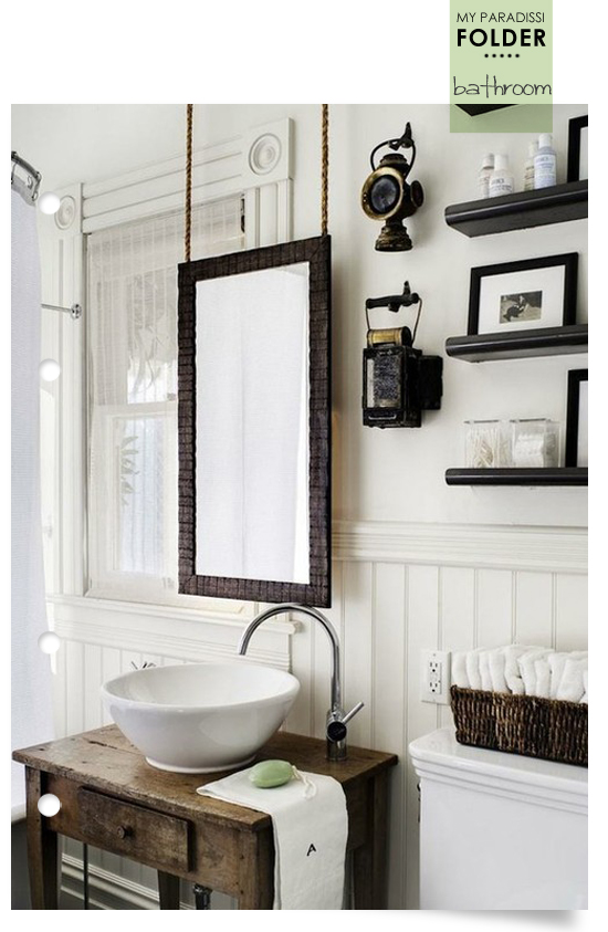 Fancy I feel rather inspired lately by reclaimed wood bathroom vanities Like this old table transformed into a beautiful vanity with a round bowl sink and the