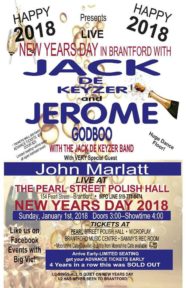 New Year's Day w Jack de Keyzer and Jerome Godboo @ Brantford Polish Hall