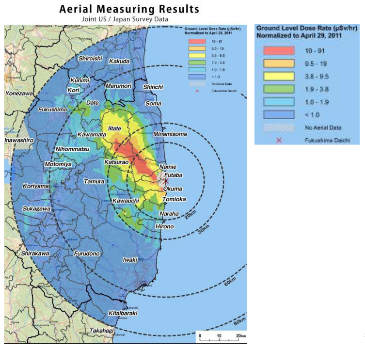 Creating A Sustainable Future Radiation Map Near Fukushima - Us radiation levels map