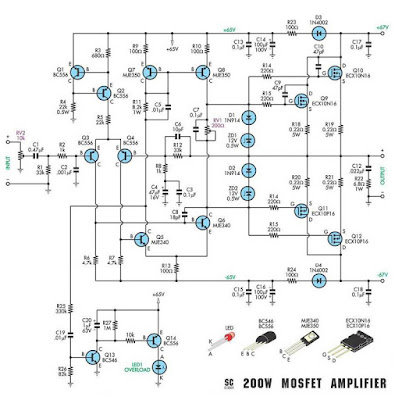 Circuit diagram of 200W MOSFET AMPLIFIER