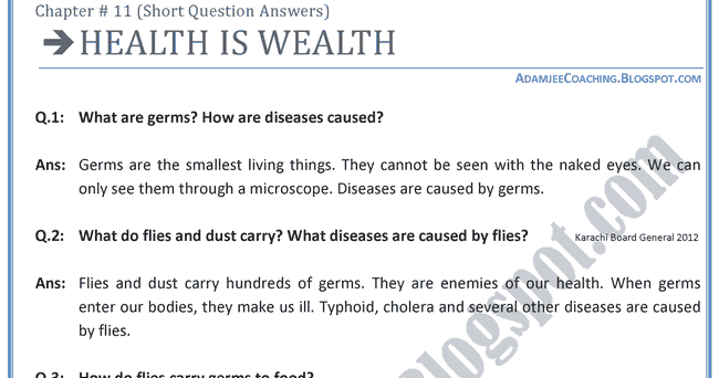 the greatest wealth is health essay topics