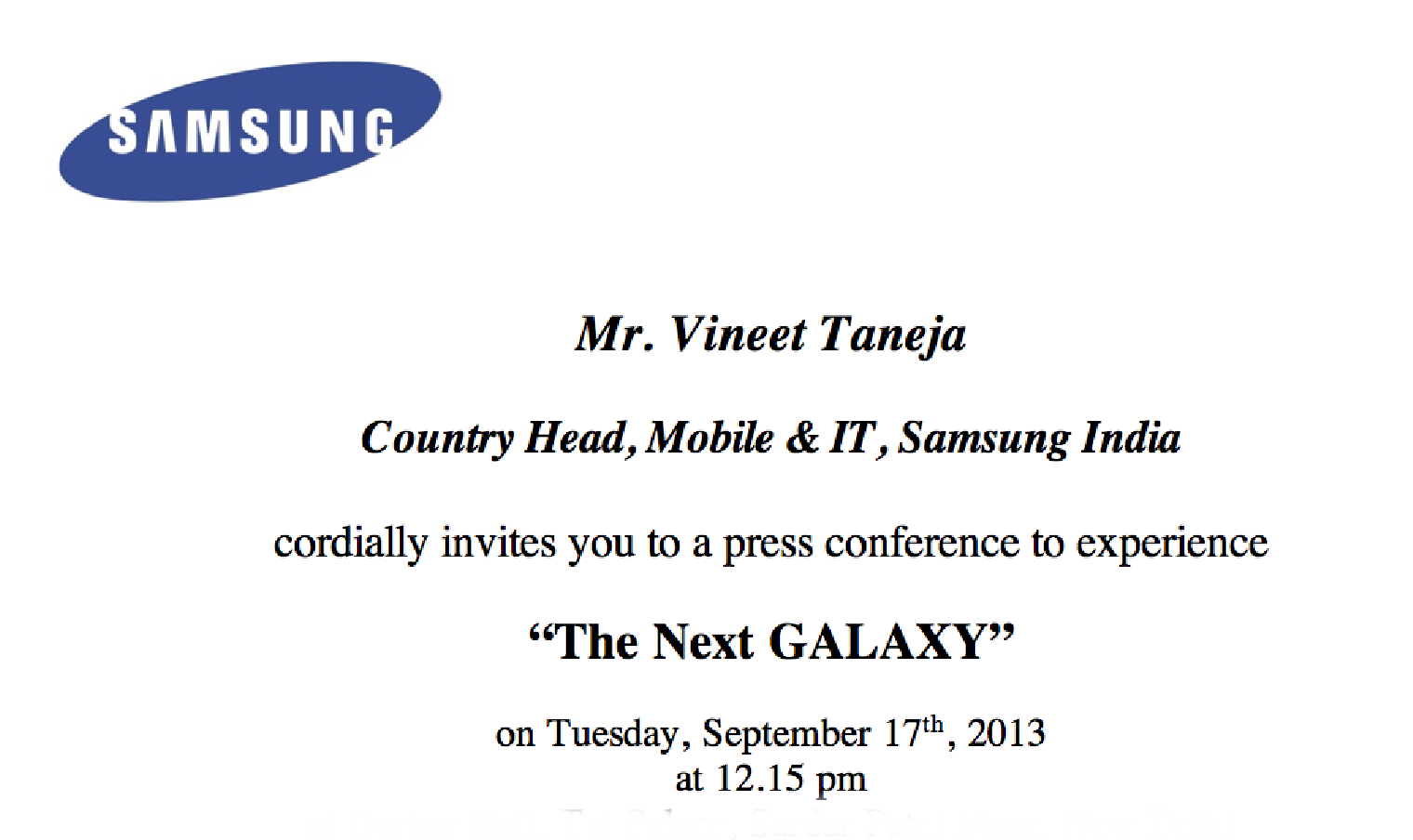 Samsung Galaxy Note 3 and Galaxy Gear India launch confirmed 17th – Launching Invitation Card