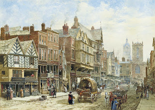 E Chester Painting Bridge Street, Chester, with St. Peter's Church and Chester Town Hall ...