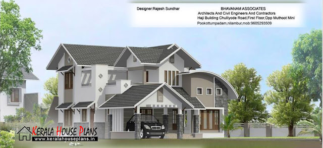 2100 sqft. Modern Mixed Roof Kerala Home Design