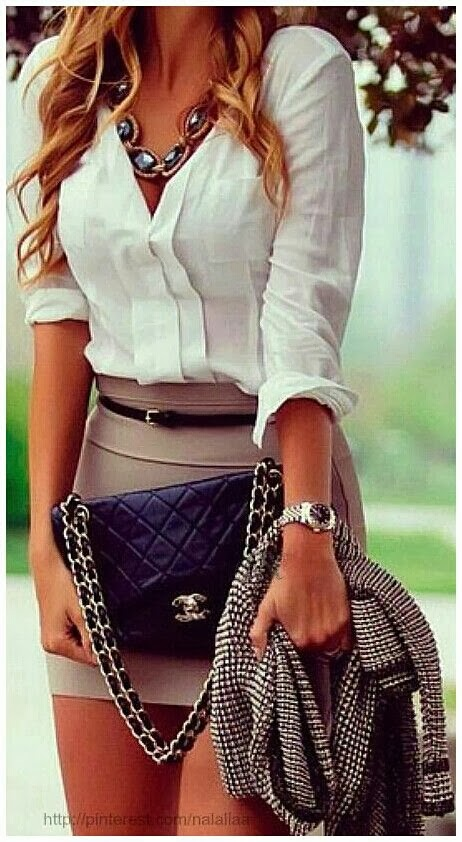 Amazing, White, Modern Blouse with Attractive, Grey Mini Skirt, Striped Jacket, Black Chanel Stylish Bag and Beautiful Accessories