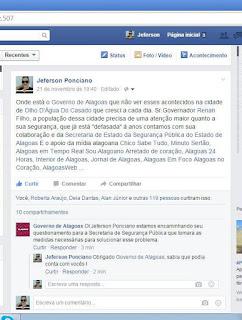Olho D´Água do Casado: Casadense faz apelo na Página Oficial do Governo de Alagoas cobrando mais segurança na cidade