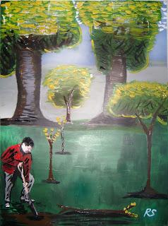 ruben sada, hilera de árboles, cuadro, ecología, quehacer ecológico