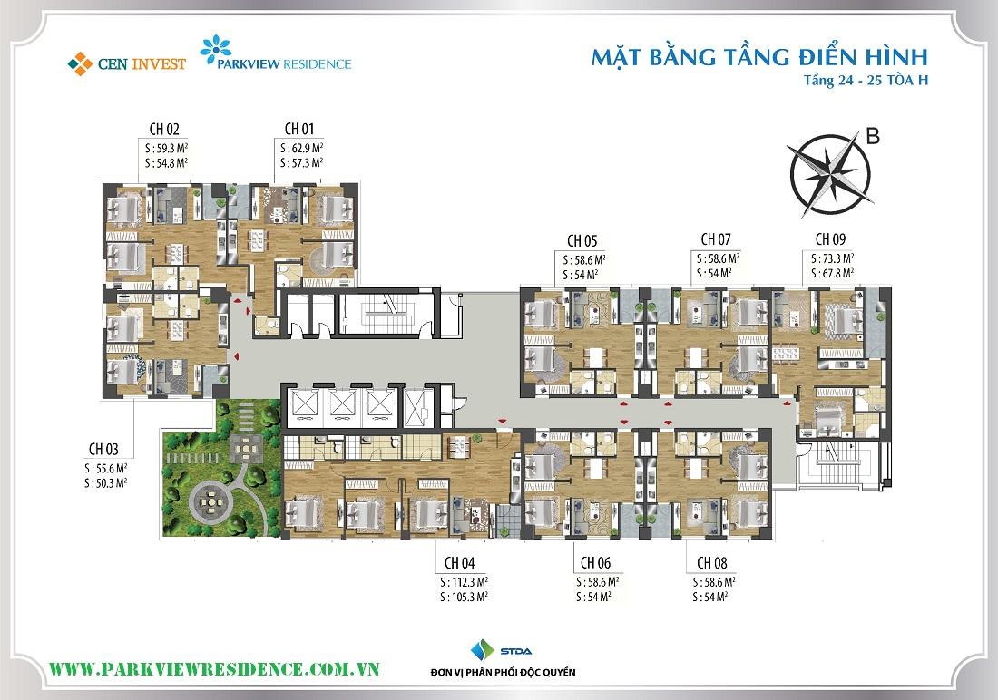Mặt bằng điển hình tòa H - Tiểu khu Parkview Residence ( Tầng 24- 25)