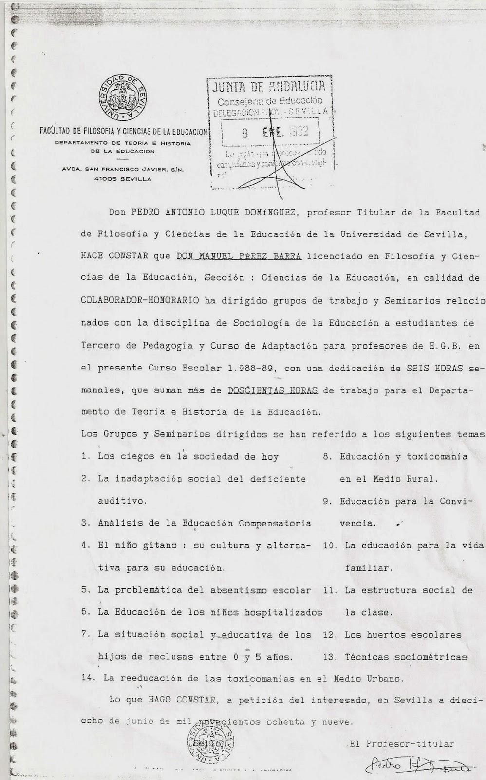 Manuel Pérez Barra: VIDA PROFESIONAL DE MANUEL PEREZ BARRA - CURRICULUM
