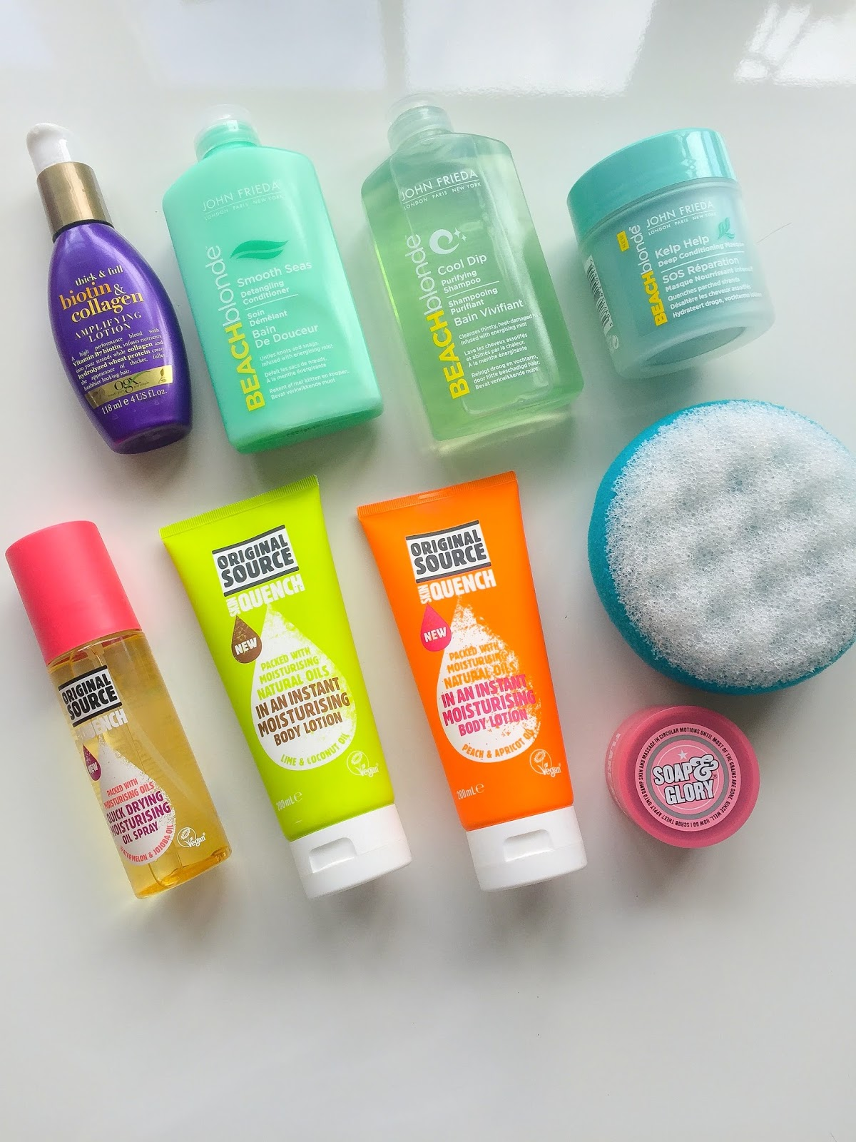 Summer Beauty Buys: John Frieda Beach Blonde, OGX, Soap and Glory, Boots and Original Source