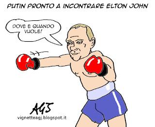 Putin, Elton John, Gay, vignetta satira