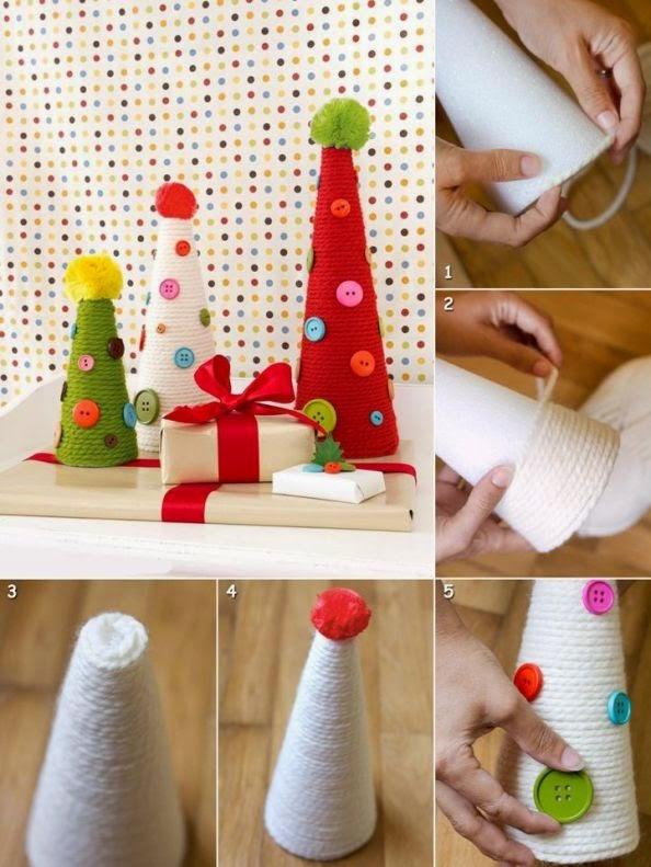 DIY, Arbol de Navidad con Lana y Botones