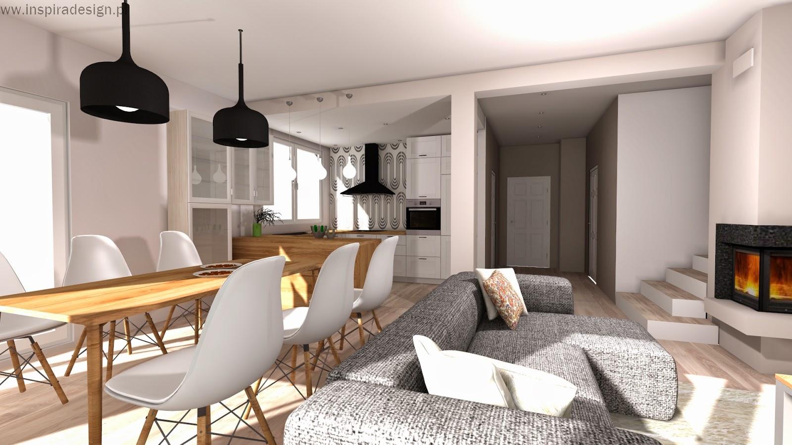 Salon z kuchnią w Będzinie  INSPIRA DESIGN projekty   -> Kuchnia Jadalnia Salon Razem