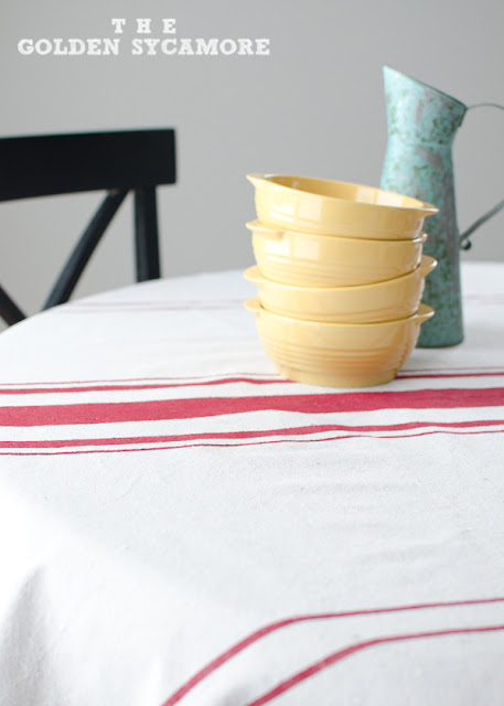 Handmade table cloth made from drop cloth