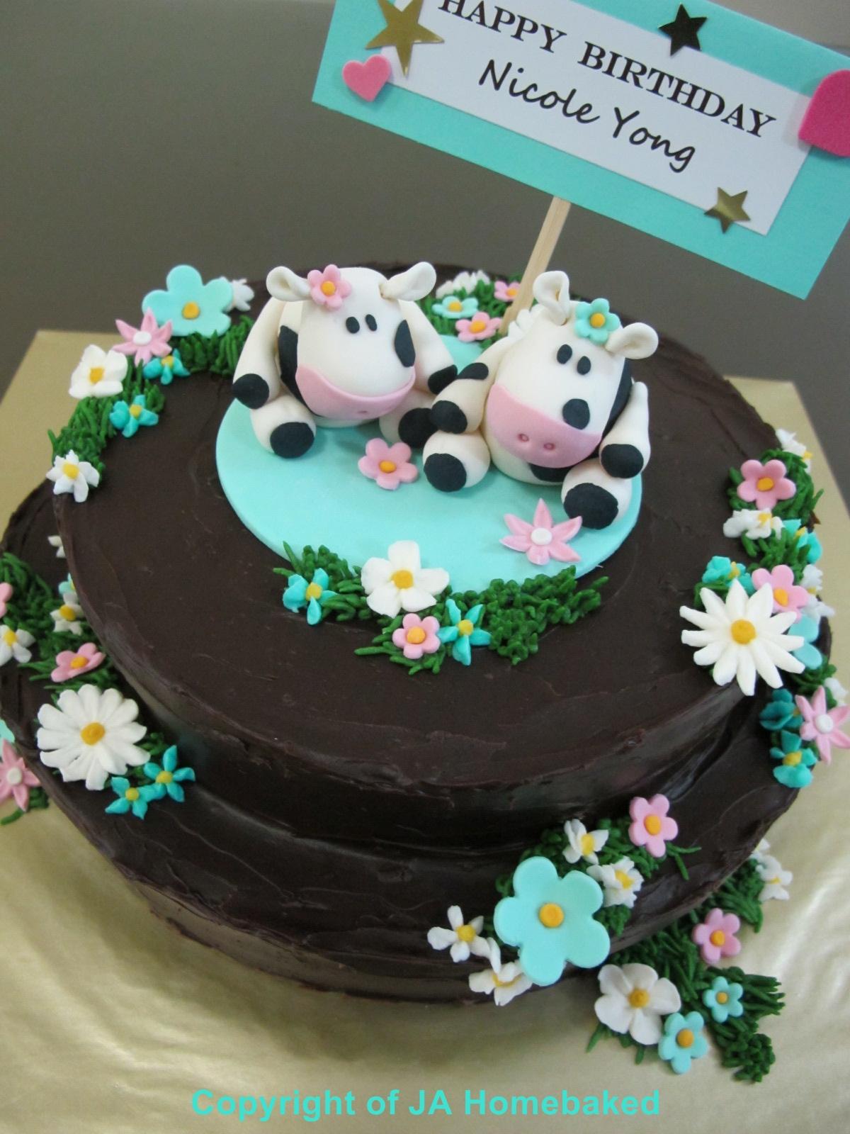 Ja Homebaked Nicoles Cow Theme Cake