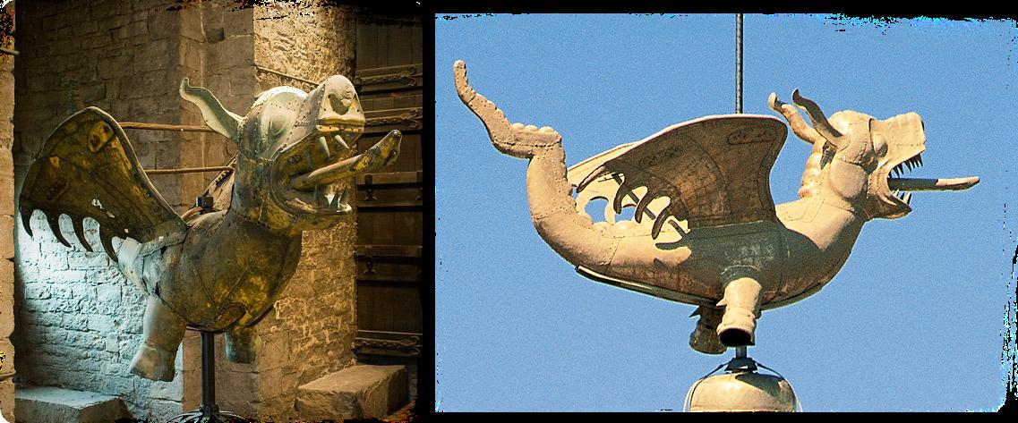 Dragón Dorado, veleta de la torre del campanario de Gante en Bélgica
