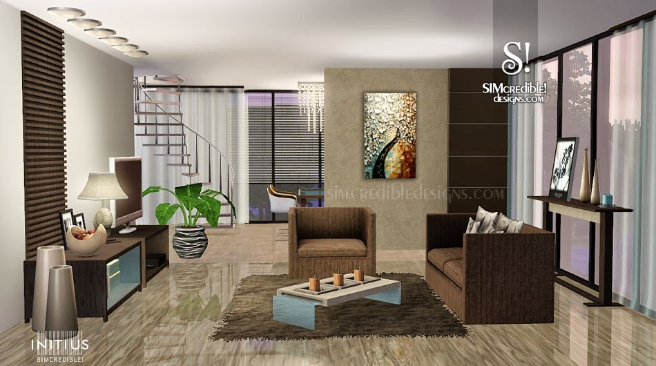 My sims 3 blog initius living set by simcredible designs for Living room ideas sims 3