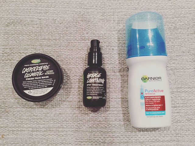 lush catastrophe cosmetic grease lightning garnier pureactive exfobrusher