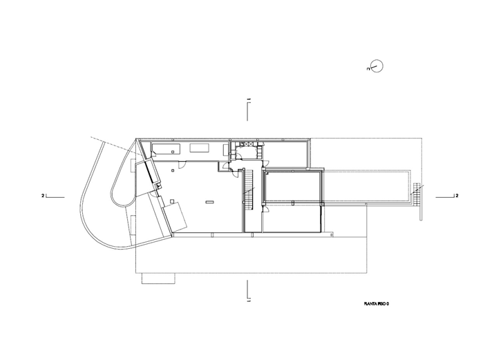 Upper floor plan of Modern Villa Escarpa by Mario Martins