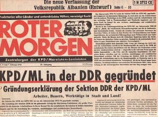 """""""La actividad clandestina de los """"maoístas"""" alemanes bajo el régimen revisionista de la RDA: Una aclaración necesaria"""" - texto publicado en junio de 2013 por el blog Crítica Marxista-Leninista Roter+Morgen+-+feb+1976"""