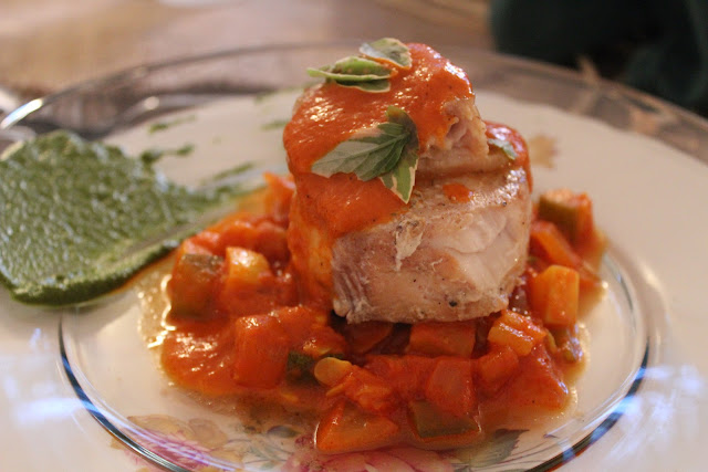 Wood-roasted swordfish with early summer ratatouille and salsa verde