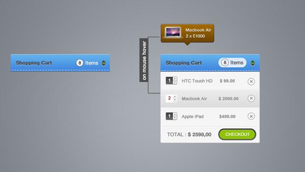 Shopping Cart UI Elements