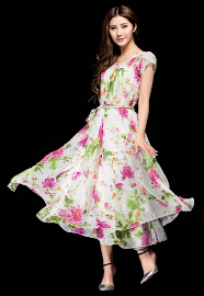 Short Sleeve Bilayer Floral Chiffon Midi Dress
