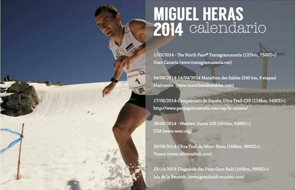 calendario de actividades deportivas de Miguel Heras