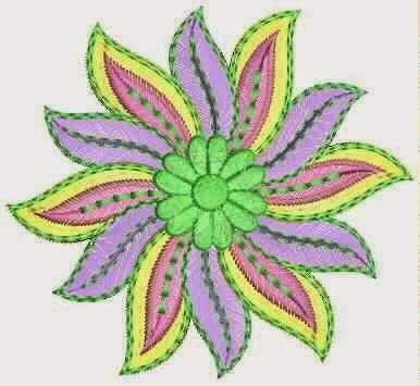 kleurvolle wol draad appliekwerk