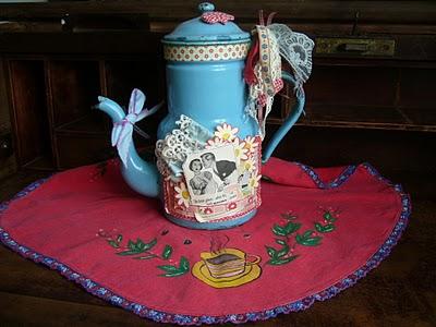Shabby Chic- Bule esmaltado agata antigo