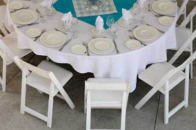 Blue and White Beach themed guest table