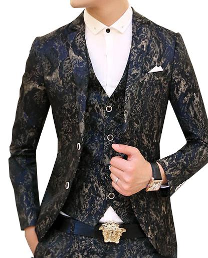 Modern In Style Grey Navy Blue Grunge Blazer