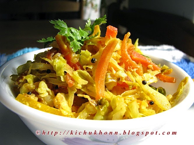 Carrot and cabbage warm salad