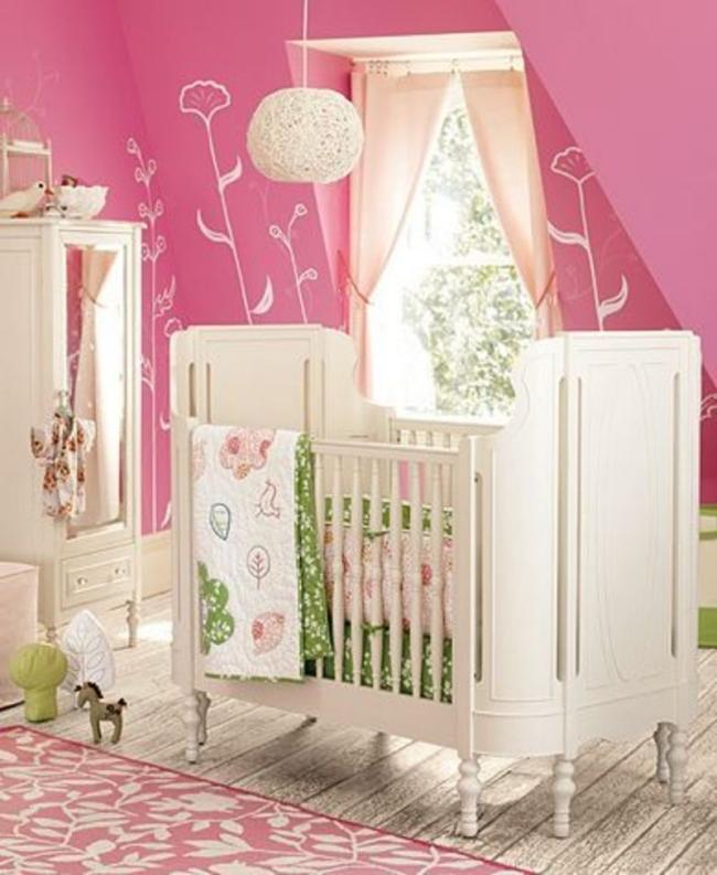 Dormitorio blanco y rosa para beb dormitorios con estilo - Dormitorios para bebe ...