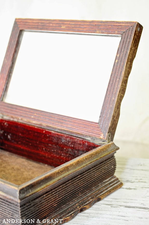 Carved Wooden Box with Mirror | Anderson & Grant