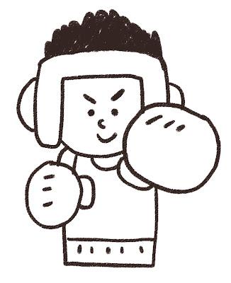 ヘッドギアをつけたボクサーのイラスト(スポーツ) モノクロ線画