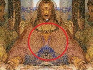 cabeza de cabra del diablo en el pecho de jesus en la ultima cena de da vinci