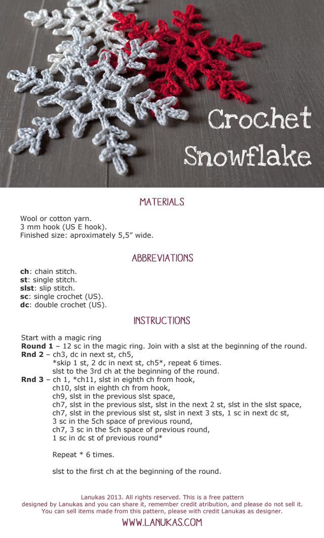 Lanukas: Patrón de copo de nieve a ganchillo