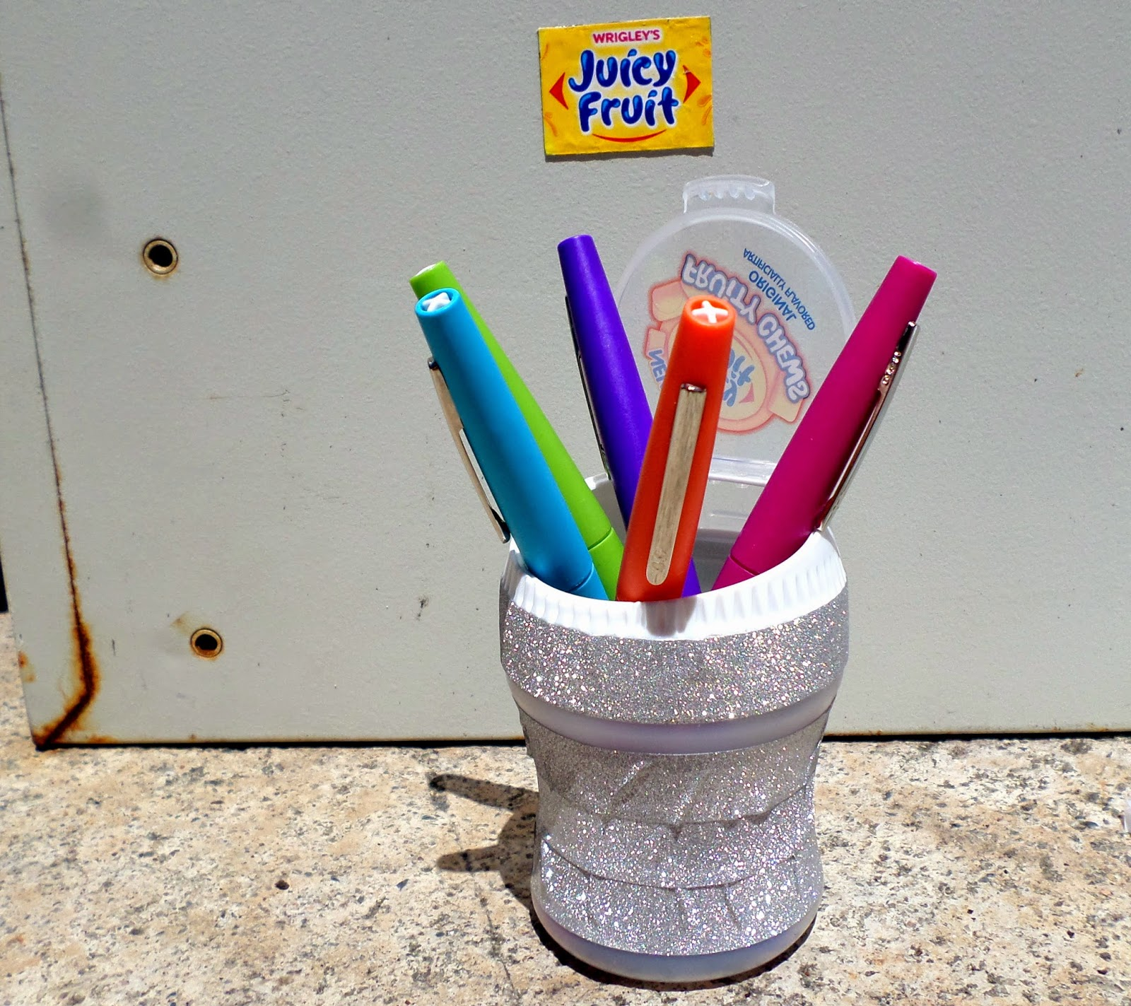 Summer Fun Juicy Fruit Gum Upcycled Magnet Pencil Cup #JuicyFruitFunSide #shop