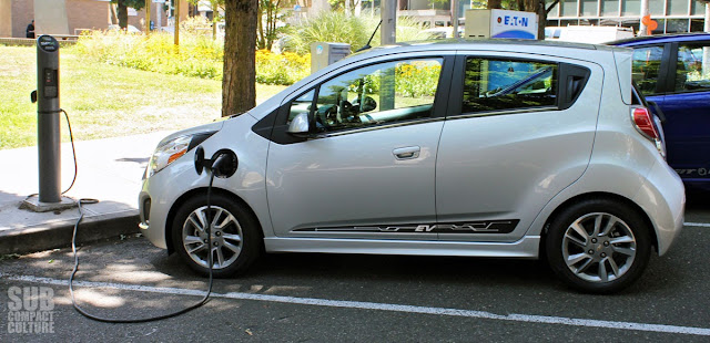 Chevrolet Spark EV charging at Electric Avenue in Portland, Oregon