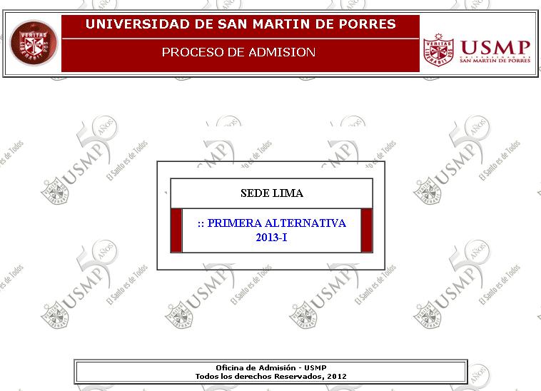 Resultados Universidad de San Martin de Porras 2013 I Lima Ingresantes 16 de Setiembre