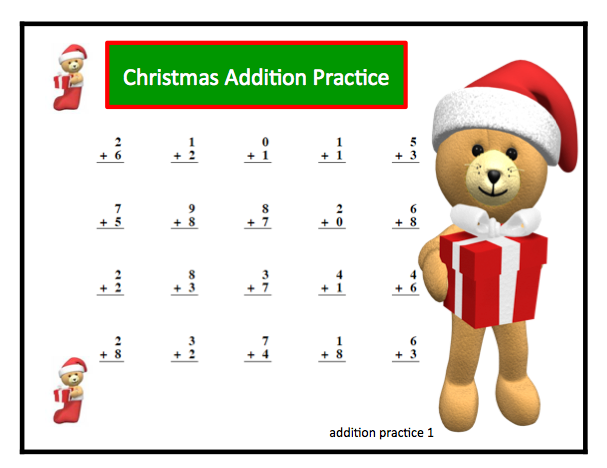Number Names Worksheets christmas math printable Free – Christmas Addition Worksheets