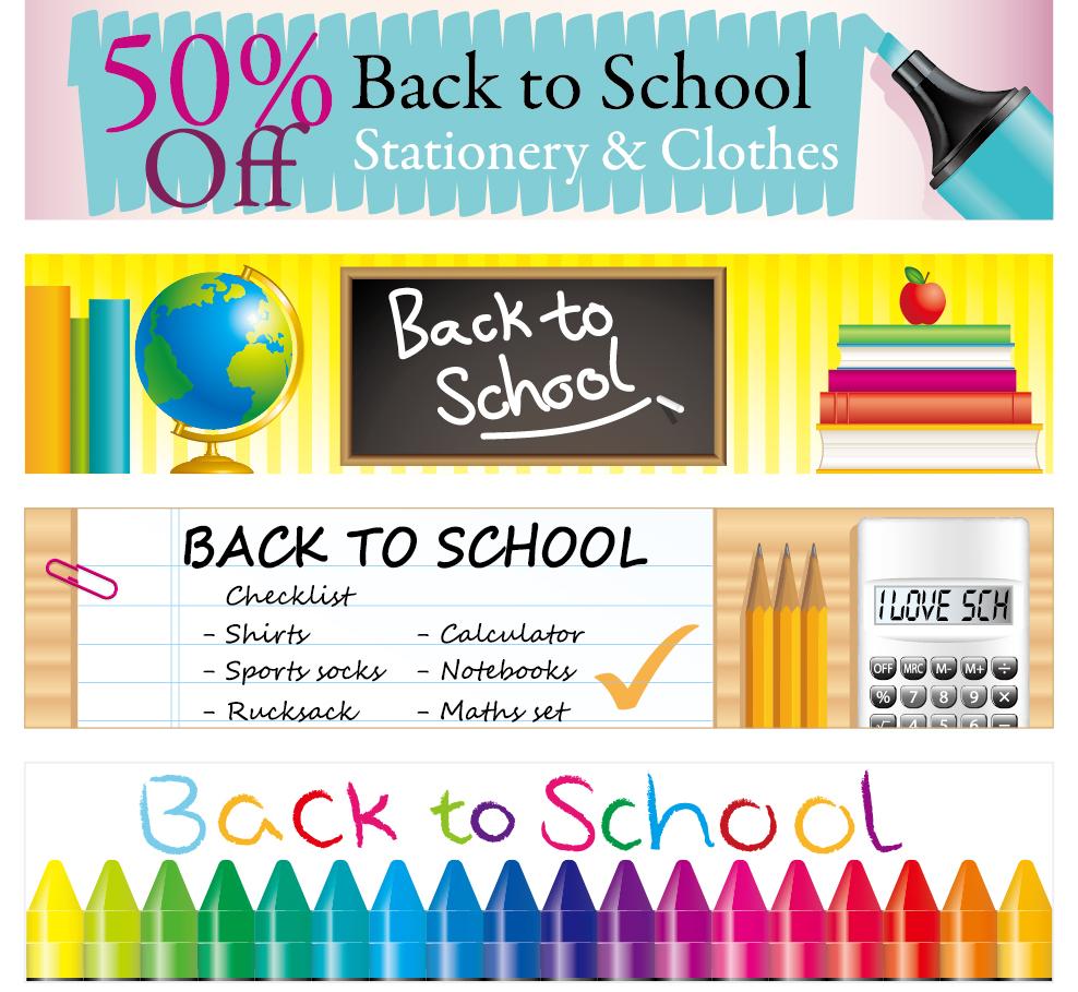 学校をイメージしたバナー campusstyle banner vector イラスト素材