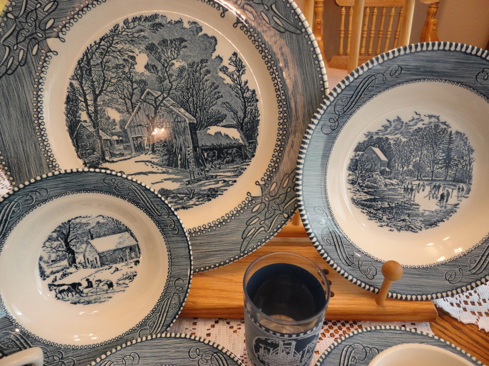 Each piece depicts a different Currier and Ives scene. & The Urge To Preserve - Musings of a life long learner: Dadu0027s Dishes