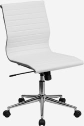 Armless White Leather Office Chair