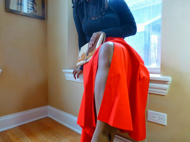 red midi skirt outfit ideas